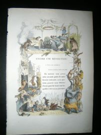 Grandville des Animaux 1842 Hand Col Print. Animals in French Revolution